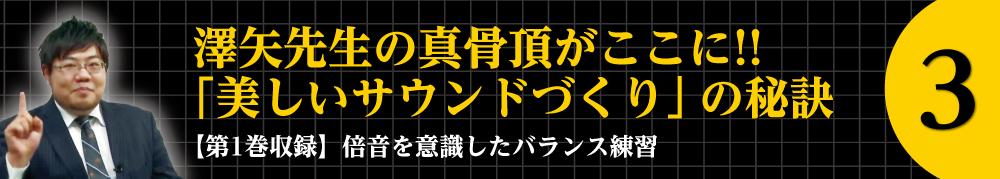 3.澤矢先生の真骨頂がここに!! 「美しいサウンドづくり」の秘訣 【第一巻収録】倍音を意識したバランス練習