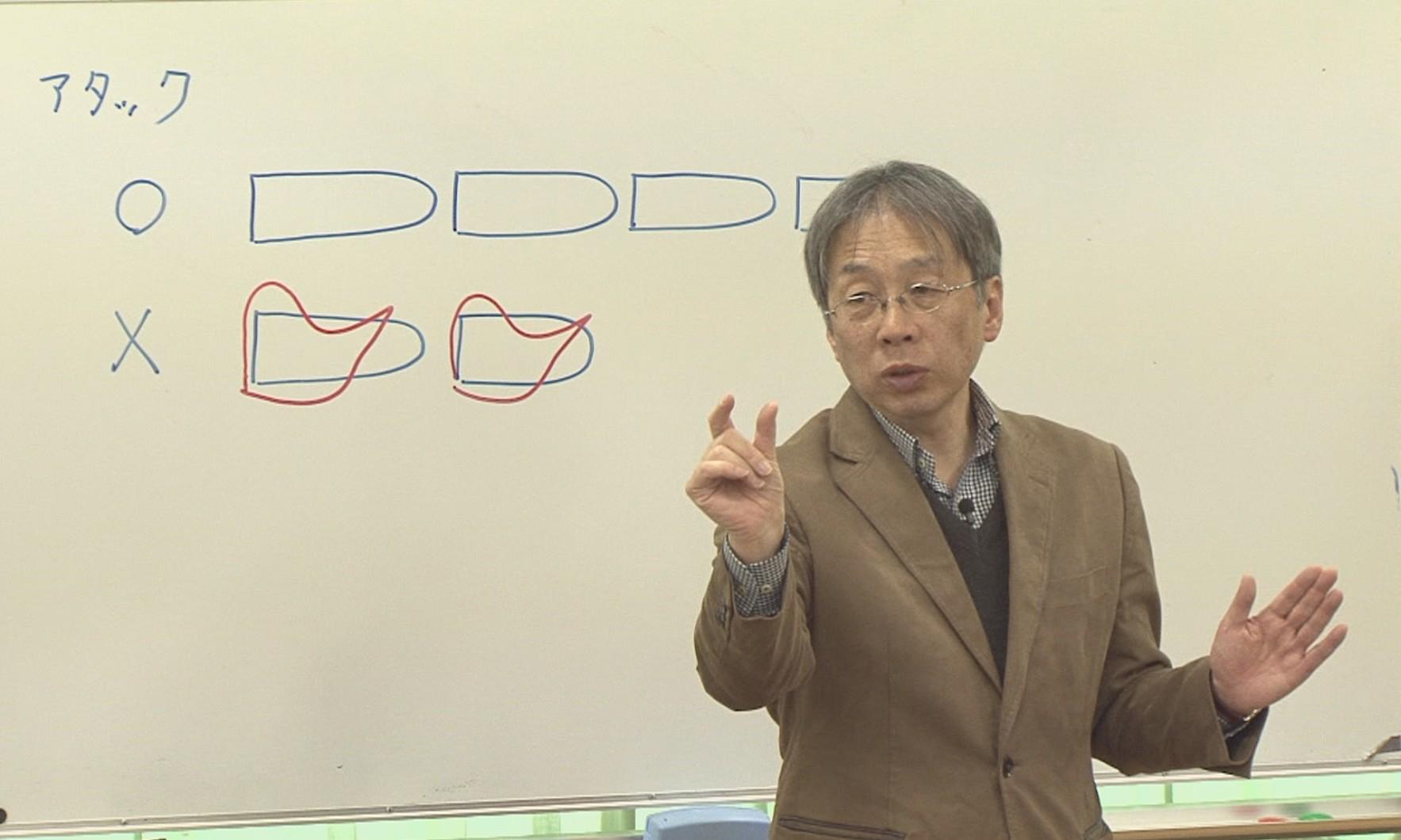 澤矢先生によるアタックの練習風景